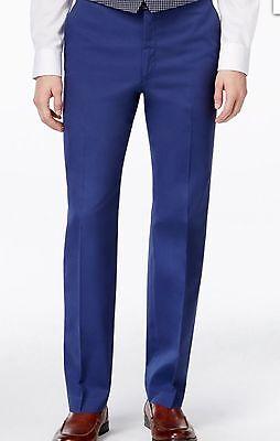NEW RYAN SEACREST 30x32 MENS COTTON SLIM FIT BLUE FLAT FRONT DRESS PANTS $79.95