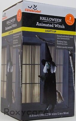 Halloween Lights Up Spooky Sounds Animated Witch on a Broomstick NIB