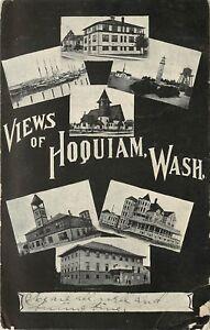 c1906 Multiview Postcard Hoquiam WA Buildings Grays Harbor County