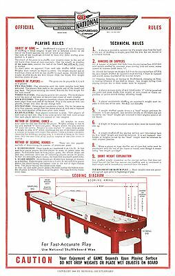 RESTORED NATIONAL SHUFFLEBOARD TABLE RULES POSTERS - SET OF TWO