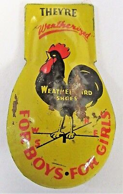 1940's PETERS WEATHERBIRD SHOES yellow advertising tin clicker premium ROOSTER