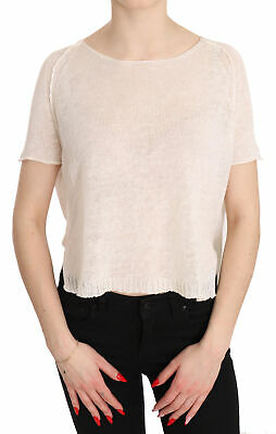 ISABEL BENENATO Blouse White 100% Flax Short Sleeve Casual Top IT40/ US6/ S $310