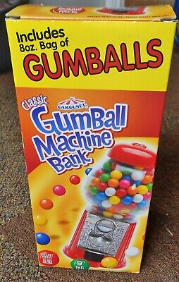 "Carousel Classic Gumball Machine Bank 9"" NEW in Box Complete Glass Die-Cast"
