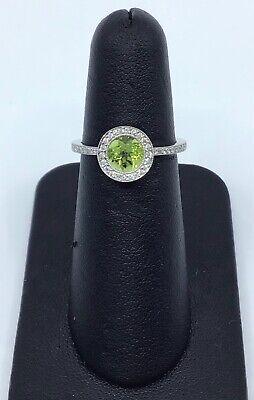 Gabriel & Co 14K White Gold Peridot and 0.25 Ct Diamond Halo Ring