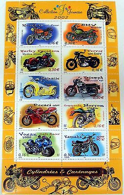 2002 FRANCE MOTORCYCLE STAMPS SHEET OF 10 HARLEY DAVIDSON YAMAHA BMW HONDA VOXAN