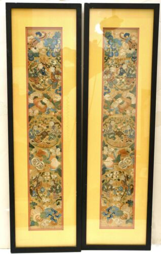 19C Pair of Chinese Frame Silk Embroidery Panel Textile Tapestry Figure Children