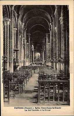 Poitiers Vienne CPA ~1914-18 Eglise Notre Dame de la Grande Nef central Choeur