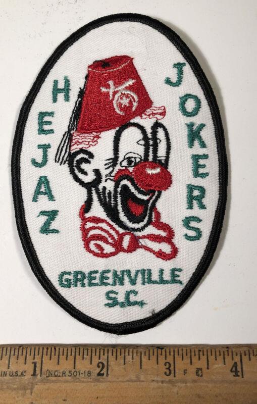 Vintage Hejaz Jokers Masonic Temple Shriners Patch Greenville SC Clown
