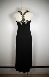 Bardot Long Maxi Dress Black Sequence Racerback Size AU6 US 2 - 4 Small