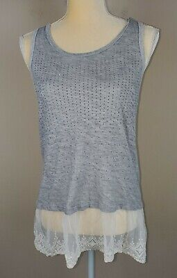 Vocal USA Women's Gray Studded Lace Trimmed Tank Top sz S Stud Trim Tank