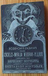 Phineas Pinchbeck Metal Wood Printing Block Dolly Vardon Alarm Clock Steampunk