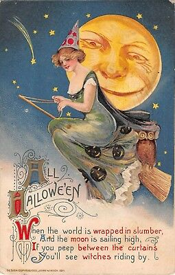 All Halloween (1911 Schmucker Winsch All Halloween Witch Riding Broom postcard Smiling Moon)