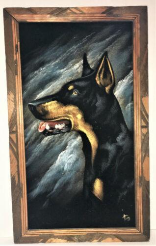 DOBERMAN PINSCHER Black Velvet Painting Vintage 70s Hecho En Mexico Signed DO