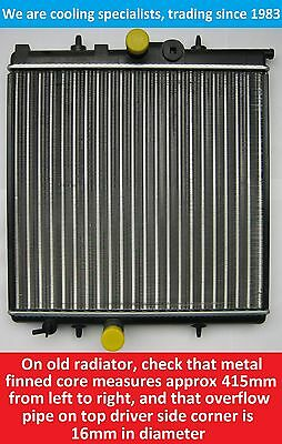BRAND NEW RADIATOR PEUGEOT 206  206 380mm x 415mm CORE   16mm OVERFLOW PIPE