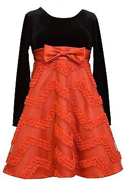 Girls Black Dresses 7 16 (Bonnie Jean Big Girls Velvet Black Stretch Red Bonaz Santa Christmas Dress)