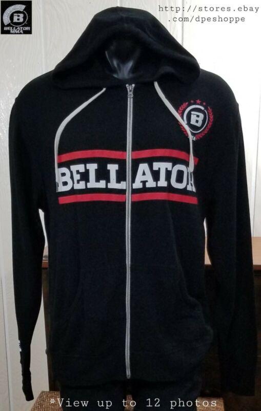 Bellator MMA -SPIKE- Graphic Blk Full Zip Midweight Hoodie Sweatshirt Slim Sz XL