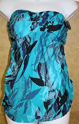 Liz Lange Maternity Target Swimsuit SET Turquoise Fern Print Bandeau Halter NEW