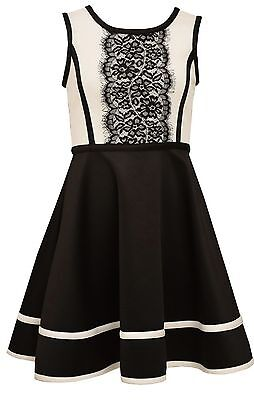 Bonnie Jean Big Girls' Lace Modern Special Occasion Black White Party Dress 4-16