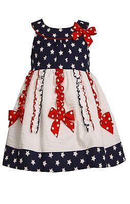 Bonnie Jean Girls Patriotic 4Th July Blue Red Bow  American Flag Dress 2T 3T 4T