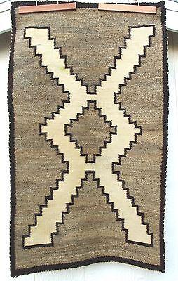 """VTG Navajo Indian Crystal Rug 1930 100% Wool Native American 41"""" X  25"""" Cleaned"""