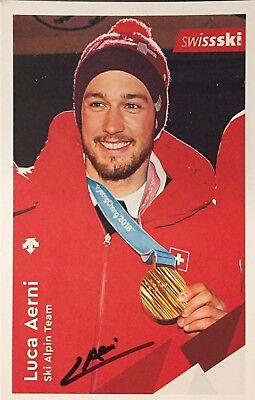 Autogramm Luca Aerni Ski alpine Schweiz Olympiasieger 2018 Weltmeister 2017 #