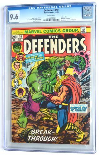 DEFENDERS #10, 1973 Bronze Age, HULK vs. THOR! Avengers x-over, CGC 9.6 WHITE pg