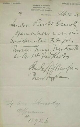 Confederate General Bradley Johnson Signed Letter Confederate 1st Maryland Dead