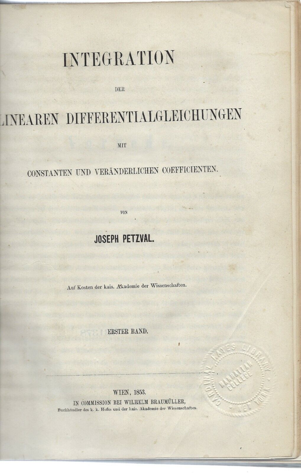 Seltenes mathematisches Werk von Josef Max. Petzval - Wien, 1853 - 1859