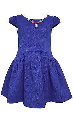 Bonnie Jean Big Girls' Textured Royal Knit Paneled Necklace Trim Seam Dress 7-16