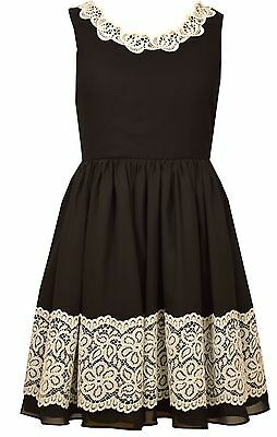 Bonnie Jean Big Girls' Lace To Chiffon Special Occasion Black Party Dress 7-16](Party Dresses Girls 7 16)