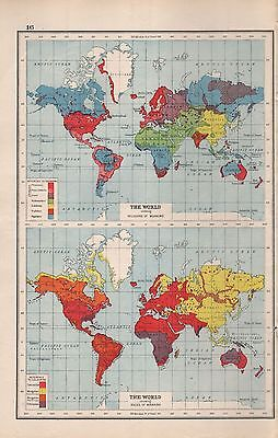 1920 MAP -POST WW1- THE WORLD - RELIGIONS, RACES OF MANKIND