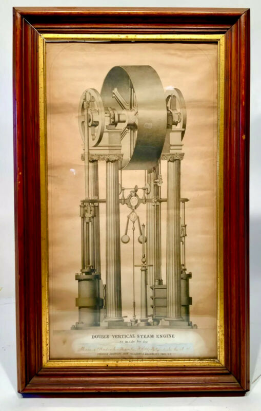 CA 1845-55 ORIGINAL MAKERS LITHO 4 COLUMN DOUBLE VERTICAL STEAM ENGINE FRAMED