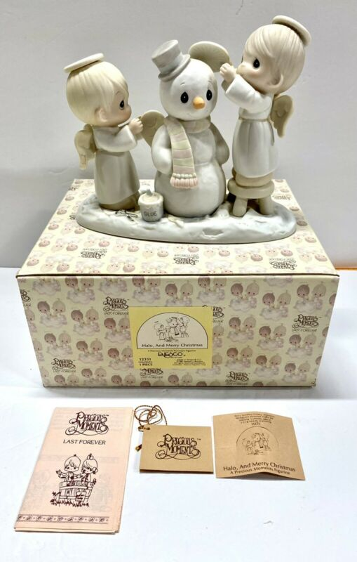 1985 Enesco Precious Moments Halo, and Merry Christmas Figurine in Box 12351