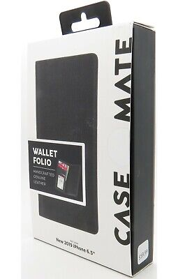 "Case-Mate Wallet Card Folio Leather Case for iPhone 11 Pro Max 6.5"" Black New"