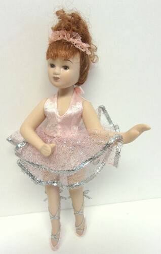 """BALLERINA DOLL PORCELAIN RED HAIRED 8 ½"""" HIGH IN PINK/SILVER TUTU & SLIPPERS"""