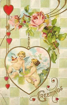 (Valentine~Naked Cupids in Gold Chain Locket~Lime Square Tile Back~Roses~Emboss)