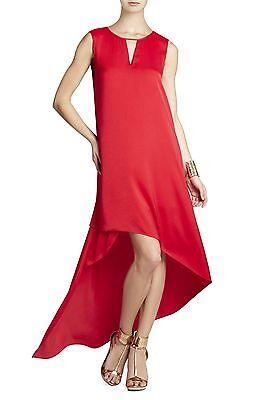 NEW BCBG MAX AZRIA LIPSTICK RED WILLOW ASYMMETRICAL HEM JUF6X038/L1 DRESS XXS  for sale  Shipping to India