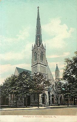 1907 1915 Vintage Postcard  Presbyterian Church  Clearfield Pa  Unposted