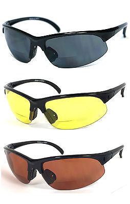 Bifocal Vision Reader Reading Glasses Sunglasses Smoke, Yellow or Amber (Bifocal Reading)