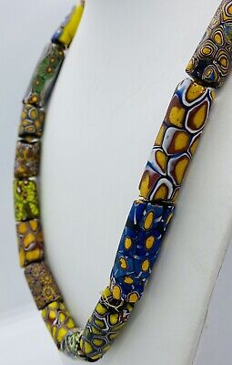 Boho Green Yellow Boheimian Milliefiore Vintage African Milliefiore Trade  Bracelet Furnace Glass Glass Cane Beads