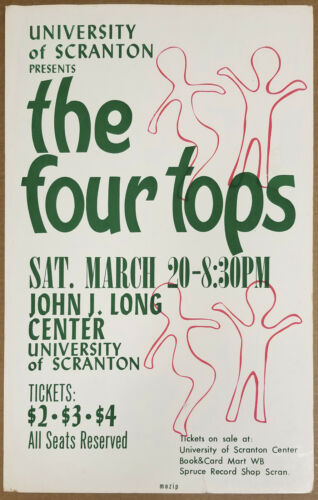 THE FOUR TOPS Motown Original 1971 Boxing Style Cardboard Concert Poster