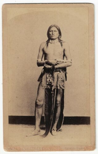 Cabinet Card Photo Gros Ventre Warrior Wolf Voice L.A. Huffman W.E. Hook 1890s