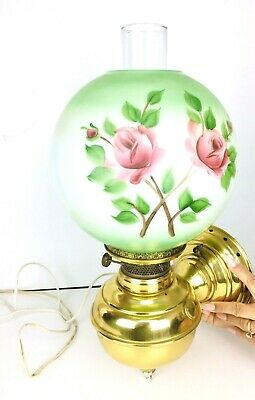 Antique Rochester ABCO Oil Converted Electric Wall Mounted Floral Hurricane Lamp
