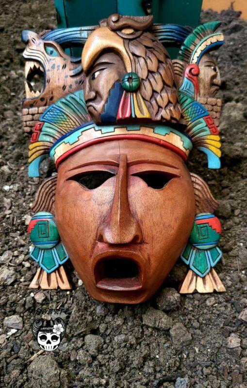 "Mayan Mask Mexican Hand Carved Cedar Maya Folk Art Aztec Decor 10"" Eagle Warrior"