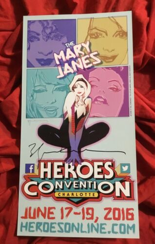 2016 HEROES CONVENTION SPIDER-GWEN SHOW POSTER~SIGNED BY BILL SIENKIEWICZ~