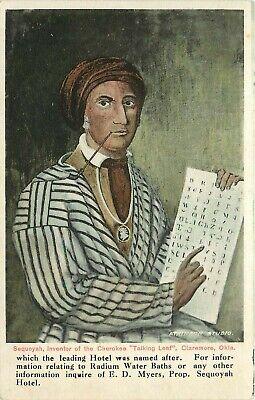 Wheelock Postcard; Sequoyah Inventor of Cherokee Talking Leaf Claremore OK
