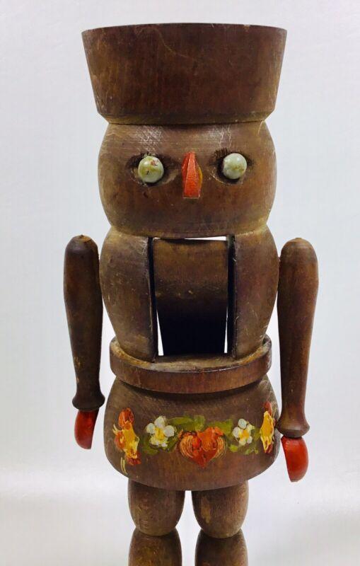 "Antique Wooden Nutcracker Hand Painted 12"""