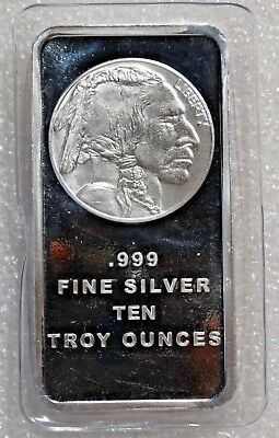 10 Troy oz Buffalo .999 Fine Silver Bar