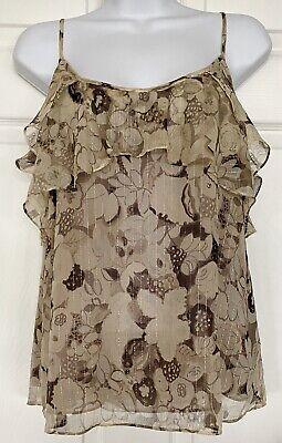Rebecca Taylor Silk Metallic Camisole Blouse Top Ruffles Floral Beige Gray Sz 4