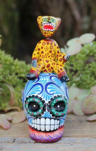 Sm Jaguar Dancer on Sugar Skull Day of the Dead Handmade Puebla Mexican Folk Art